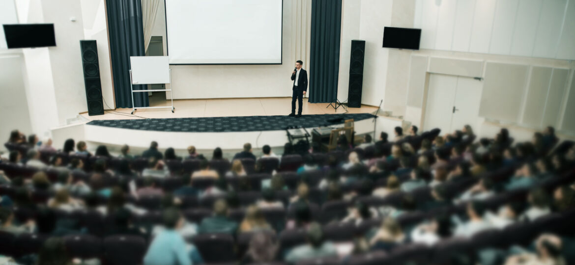 Speaker at Business Conference and Presentation. Audience the conference hall